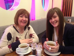 Karen and Leah enjoying a coffee at the airport  en route to India
