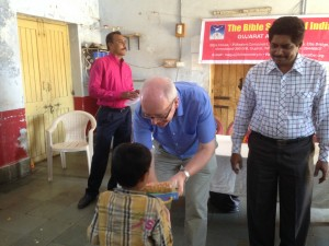 Presenting Bibles to children in a Hostel
