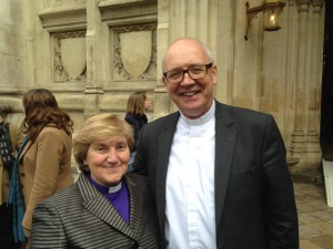 Outside Westminster Abbey with the Moderator of the Church of Scotland