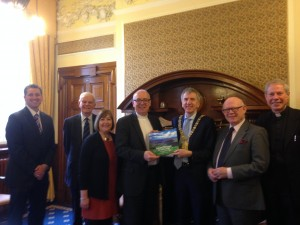 Presenting book on Presbyterianism to Belfast Lord Mayor